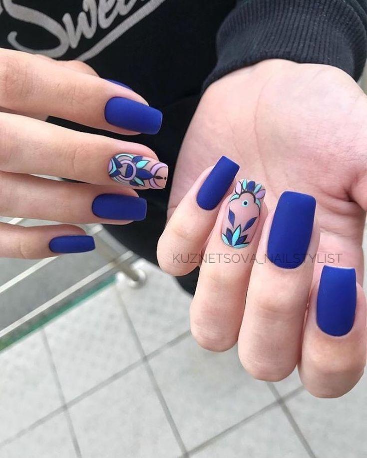 23 Blue Matte Nail Designs 23 | Nails | Матовый дизайн ...