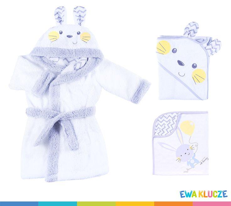EWA KLUCZE, biały szlafrok króliczek, kocyk, okrycie niemowlęce, EWA KLUCZE, white rabbit robe, blanket, EWA KLUCZE, одеялко, полотенце, халат