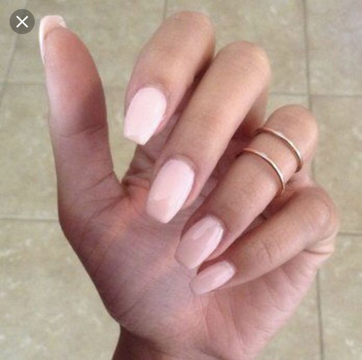 Handpainted Press On False Nails Nude Pink Short Coffin