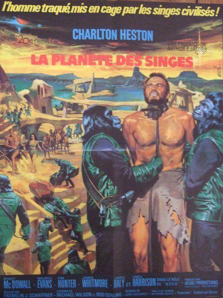"""""""LA PLANETE DES SINGES"""" (1968)  de Franklin J. Shaffner, avec Charlton Heston. Affiche de Jean Mascii d'origine. Vente aux #encheres du 11/05/09 par Chayette & Cheval"""