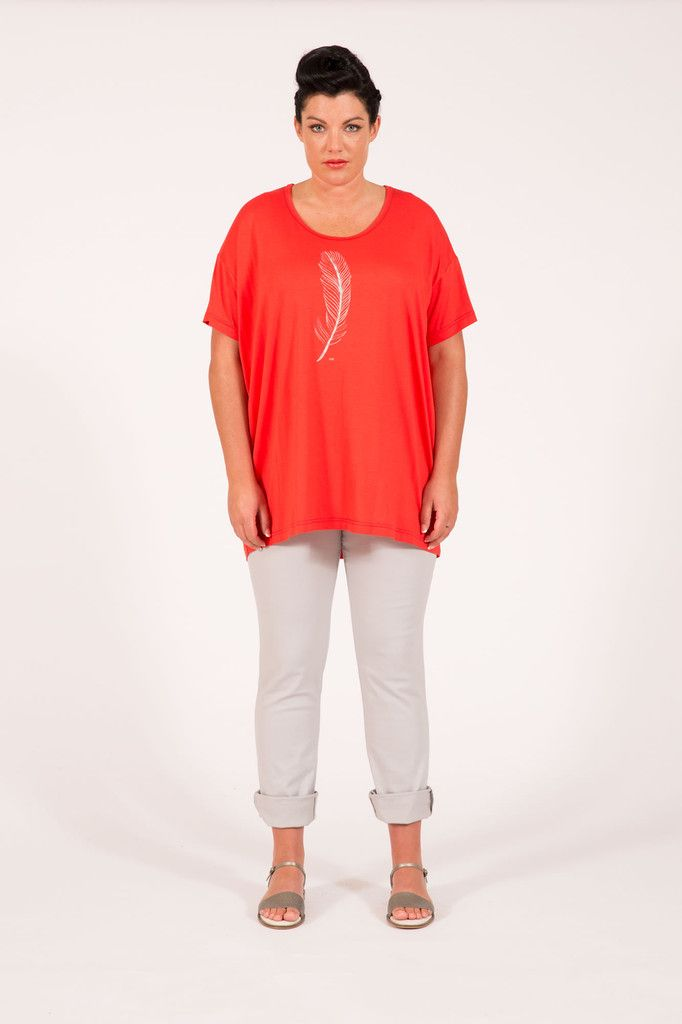 S16042 Feather Box Tee Coral Multifit