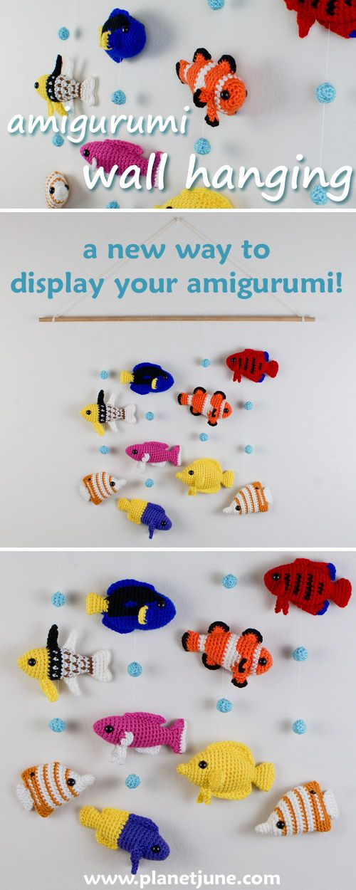 Tutorial: combine small amigurumi and crocheted pieces into a decorative wall hanging.