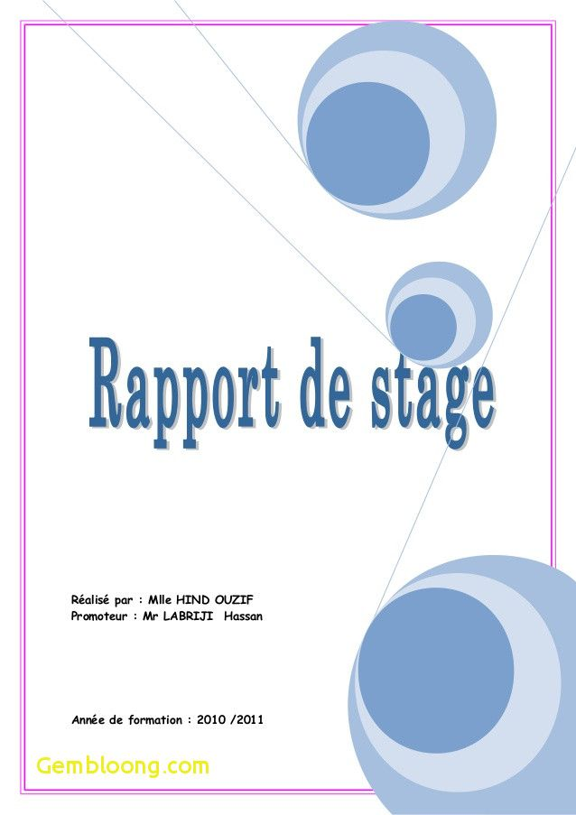 Page De Garde Word Rapport De Stage New Couverture Rapport