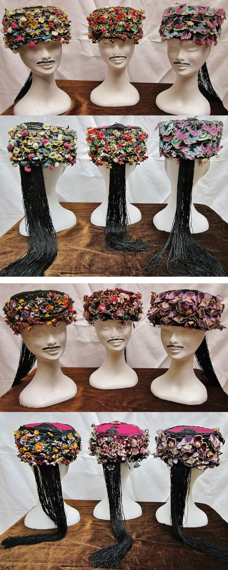 Six 'oyalı zeybek başı' (ceremonial headgear of the 'Efe' / 'Zeybek') from Izmir – Manisa –Aydın.  In Izmir large flat (2D) oya-lace is preferred, and in Manisa the much smaller three-dimensional flower-oya.  In Aydın you can see both types, and everything in between.  These hats were made in our workshop; only authentic needle-lace (iğne oyası) were used – three for each hat.  Which made them nice, but rather expensive.  (Kavak Folklor Ekibi & Costume Collection - Antwerpen/Belgium).