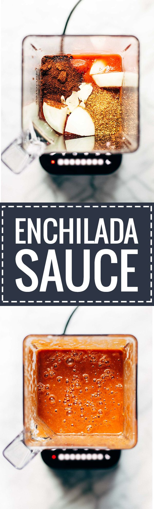 Five Minute Blender Enchilada Sauce - 6 ingredients // 5 minutes. A super healthy alternative to canned enchilada sauce! | pinchofyum.com