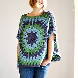 Stay as warm and cozy as can be with this oversized poncho-style top which features a boxy shape with a boat neckline,dropped shoulders and cute cuts at the sides. The colorwork and unusual construction ensure a satisfying level of challenge while crocheting it up!