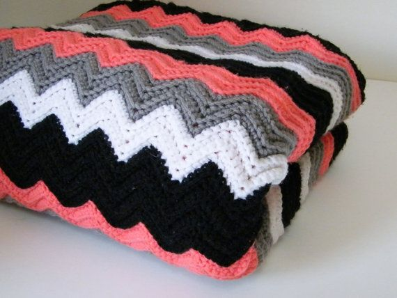 Crocheted Throw   Black, White, Gray, Coral