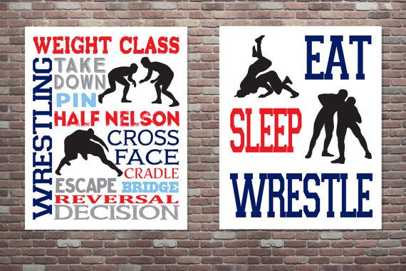 Wrestling Poster Wrestling Typography Poster by CottageArtShoppe