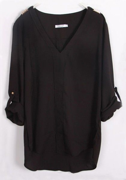 Black Plain Sequin V-neck Long Sleeve Chiffon Blouse