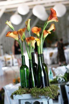 wedding floral centerpieces: Decor, Ideas, Calla Lilies, Weddings, Wine Bottle Centerpieces, Wine Bottles, Flowers, Calla Lily, Center Piece