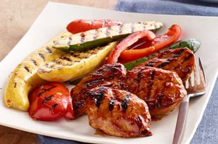 Orange-BBQ Chicken with Grilled Vegetables - these veggies will be a must try this spring/summer