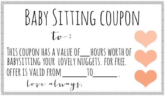 Free downloadable babysitting coupon! :) Might start giving these to families I babysit for Christmas and things