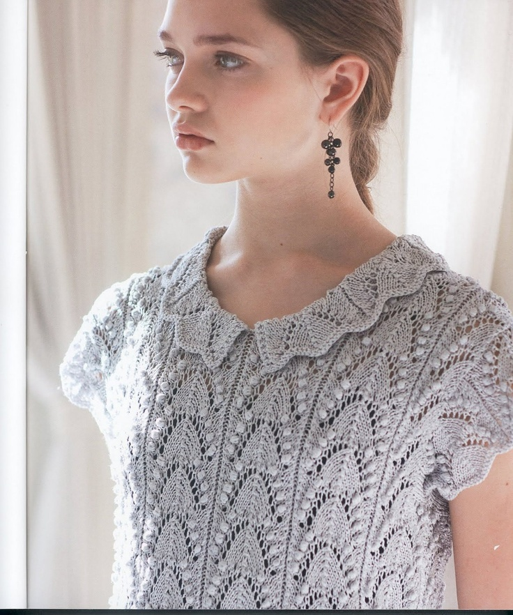 """Estonian lace """"Lily of the Valley"""" pattern ~~ Japanese knitting lady lace short sleeve sweater ~~ Make your own version with these charts: body, http://www.pinterest.com/pin/460563499368010498/ ; edging for neck and sleeve cuffs, https://www.pinterest.com/pin/460563499369870241/"""