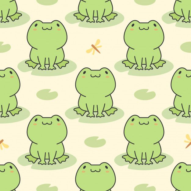 Cute Frog Seamless Pattern With Images Cute Frogs Frog Art