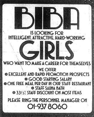 Biba help-wanted advertisement. I love Biba but even more... the 01 phone code!