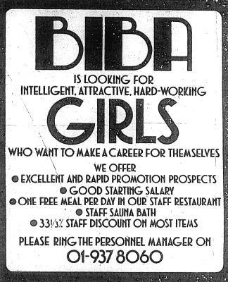 Biba help-wanted advertisement. I love Biba but even more... the 01 phone code!