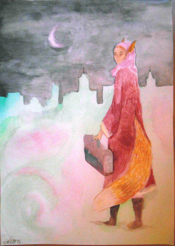 donna volpe  gouache e acquerello su tela di Arsborealis su Etsy