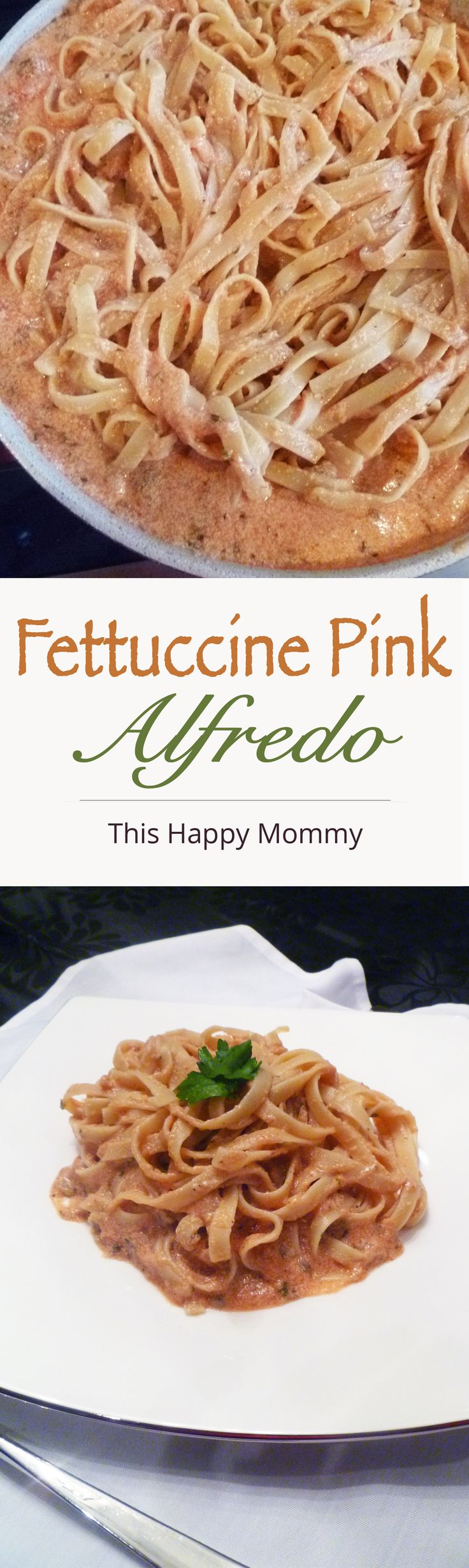 A tasty spin on the classic dish - Fettuccine Pink Alfredo is a rich and creamy sauce filled with roasted garlic, herbs and tomato paste. | thishappymommy.com