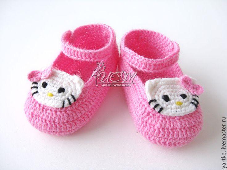 """Купить Пинетки """"Китти"""" - розовый, однотонный, вязаные тапочки, вязаные пинетки, пинетки для новорожденных"""