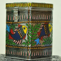 Beautiful, Unique & Durable - Madhubani painted Tin Canaster- ideal for bulk storage in  the kitchen or linen or warm clothes .This art form depicts traditional stories painted by women on walls in Mithila, Bihar celebrating weddings, births and festivals. They have adapted their art to adorn metal, canvas, paper, cloth and wood