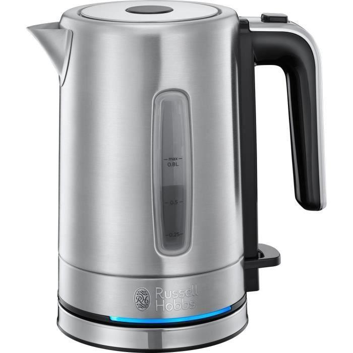 RUSSEL HOBBS 24190-70 Wasserkocher Compact Home Inox Kapazität 0.8L Anti-Kalk-Filter Abnehmbar Waschbar Automatische Öffnung