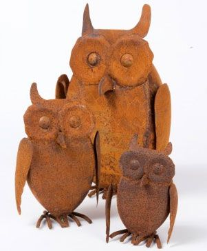Rusty Owl AUD $29.00  These quirky owls are made from rusted steel and are equally at home in your home or in the garden. Group together for effect.  #MYHAHonlinestore #owls #garden #decor