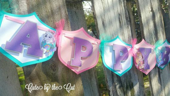 GIRLS Paw Patrol Banner by CuteByTheCut on Etsy