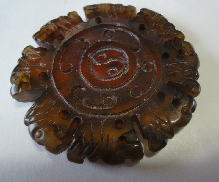 Antique Chinese Carved Hardstone Disc Pendant With Serrated Edges Dragon Heads