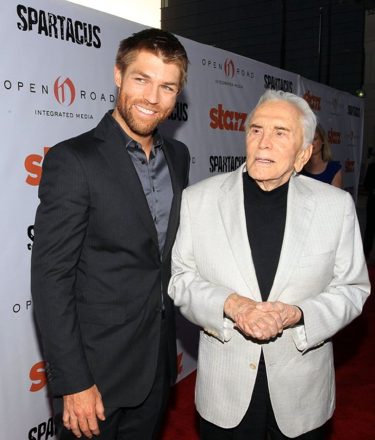 Kirk Douglas & Liam McIntyre at revival of Spartacus originally released in 1960.