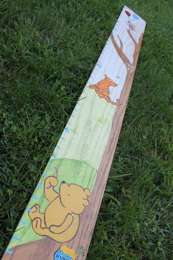 Classic Winnie The Pooh Hand Painted Growth Chart @Rhiannon Dunn Garcia I could so do this for Baby D