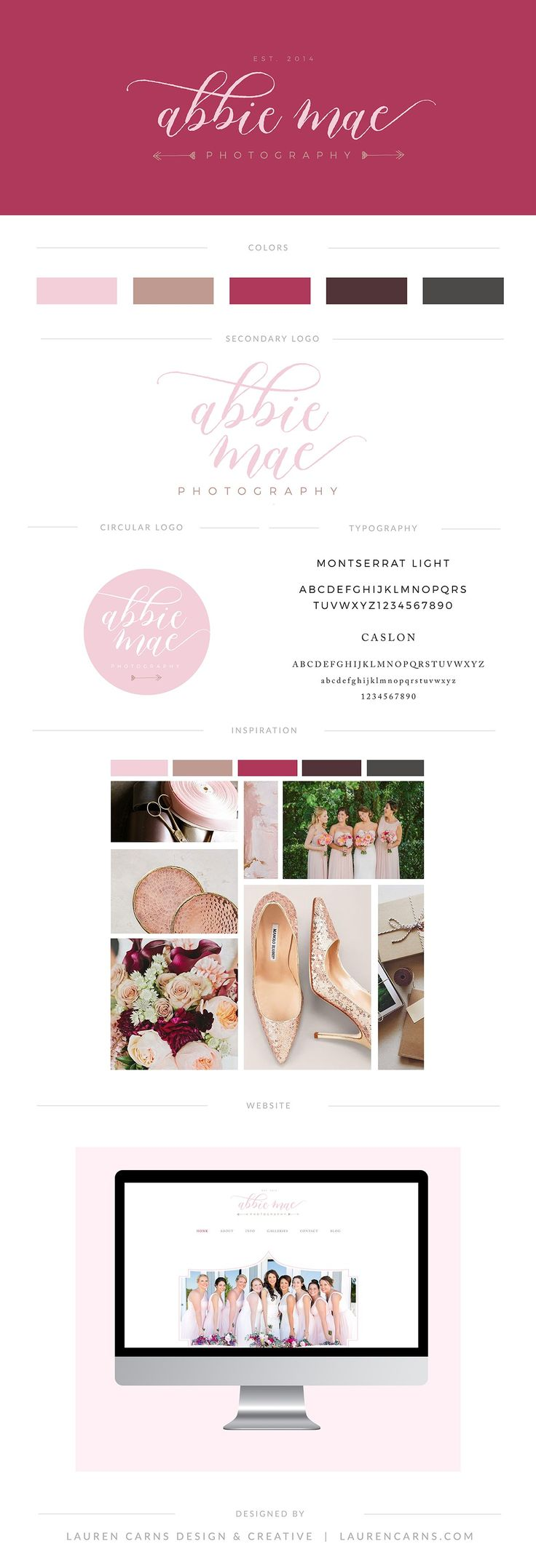 Abbie Mae Photography brand board | Lauren Carns Design and Creative | feminine branding, raspberry and rose gold, southern inspired branding, traditional photography branding