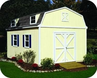 the sequoia storage building is a classically designed gambrel style shed in the premier series by handy home products lawn and garden equipment