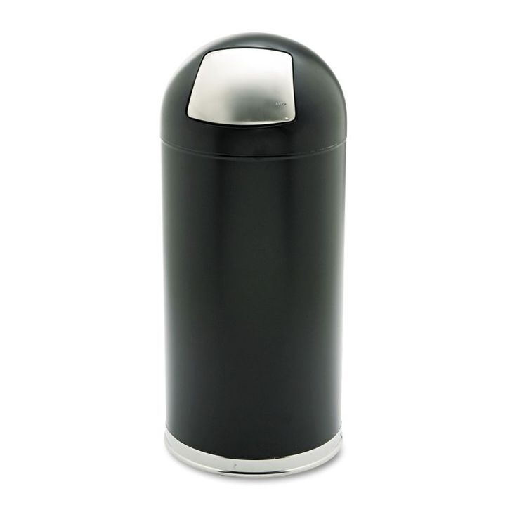 Safco SAF9636BL Dome Receptacle with Spring-Loaded Door Round Steel 15 gal. Black Janitorial Supplies Waste Receptacles Waste Receptacles
