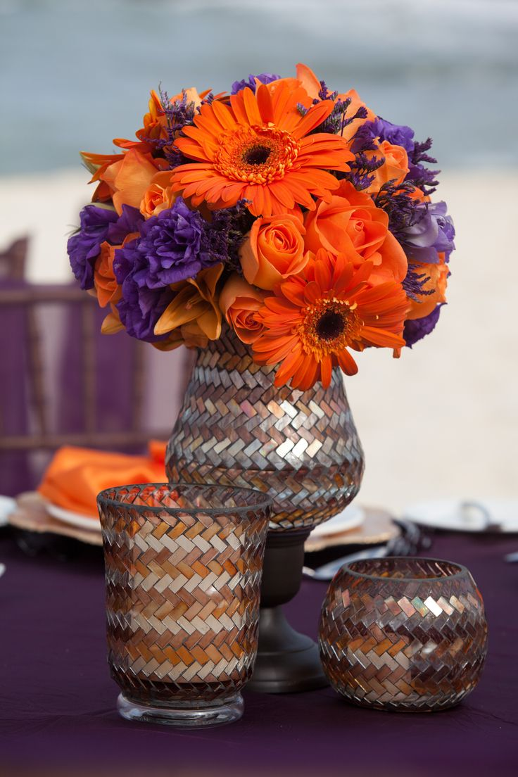 It's in the details. Rich purple and orange with reflections of gold. #DestinationWedding #Mexico