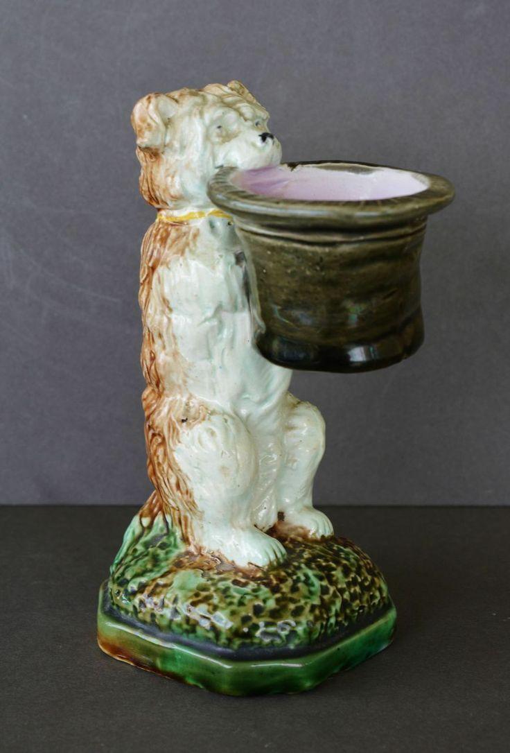 Beautiful vintage salt cellars set of 4 - Antique Majolica Begging Terrier Dog Figural Salt Cellar Cute