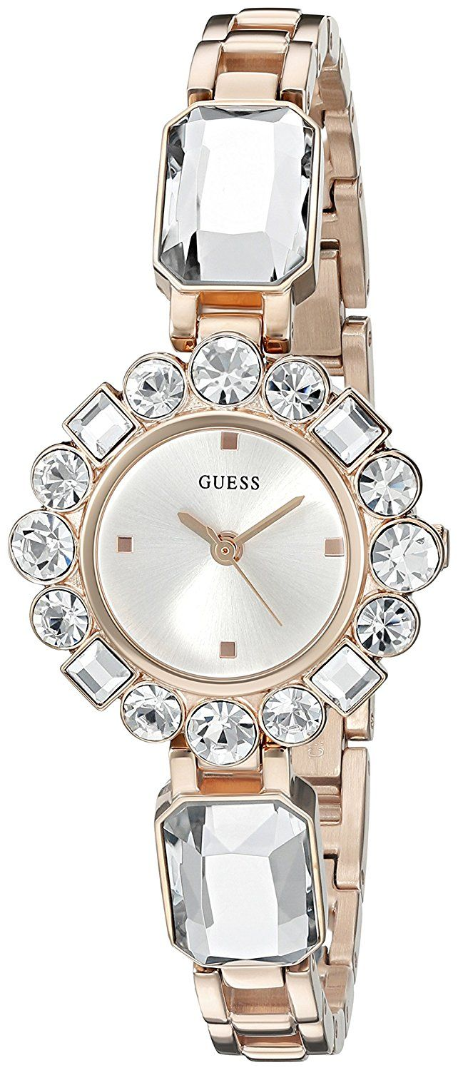GUESS Women's U0701L3 Dressy Jewelry Inspired Rose Gold-Tone Watch with Self-Adjustable Bracelet * Click image to review more details.