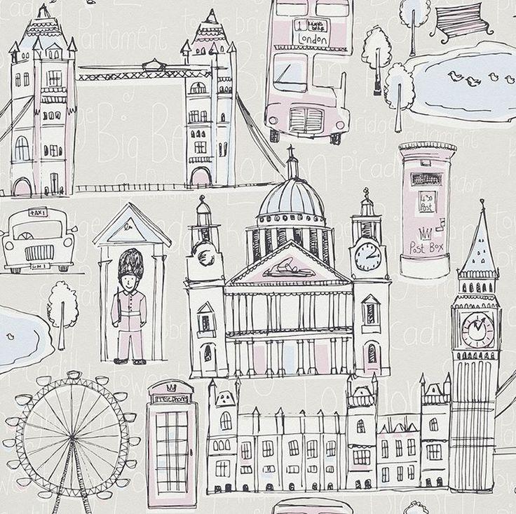 Love this metropolis of #London inspired kids #wallpaper!