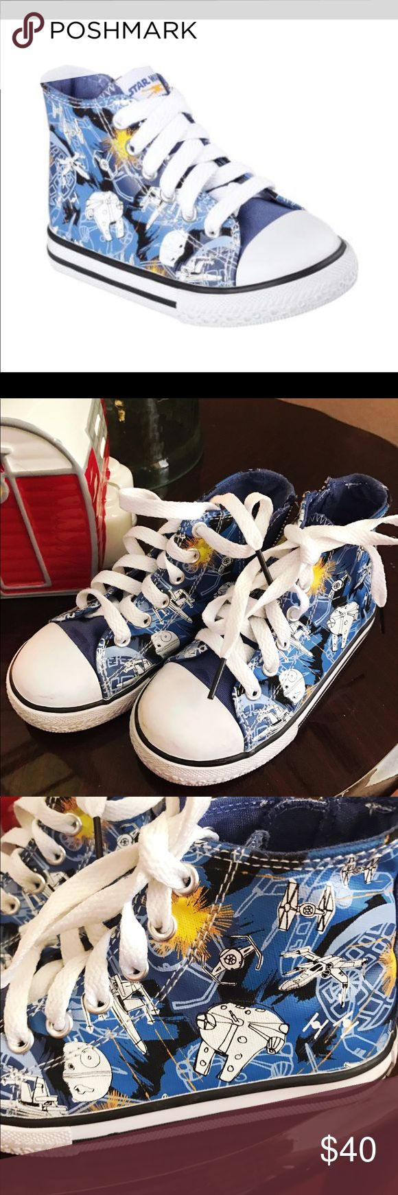 Star Wars sneakers by Skechers Adorable Skechers high top sneakers in excellent condition! My son wore these less than 5x. Star Wars theme printed across shoe. Retailed for over 50.00. Has a size zip for easier foot entry.  ❌NO TRADED Skechers Shoes Sneakers