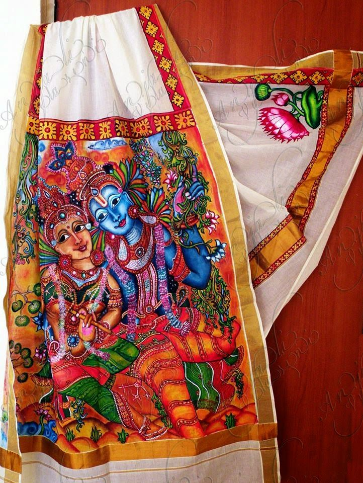 59 best images about hand painted sarees on pinterest for Aithihya mural painting fabrics