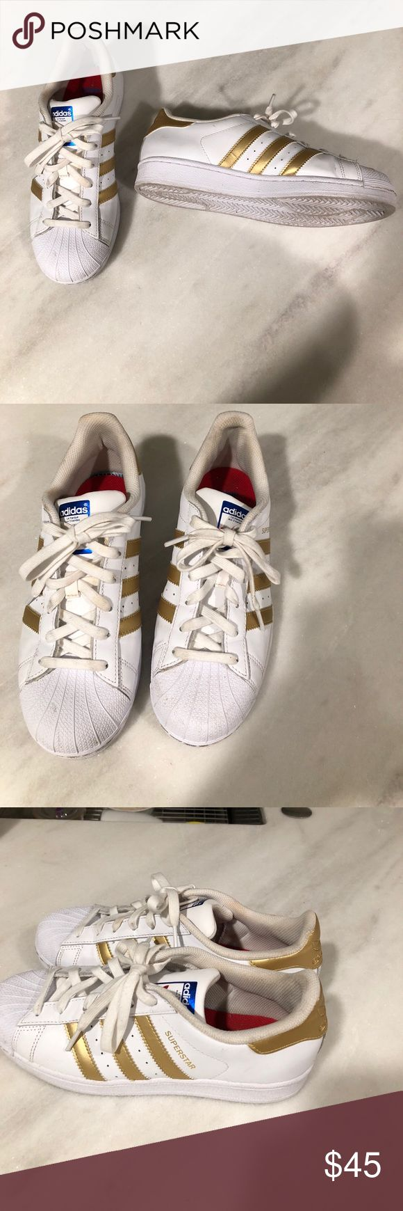 Adidas superstar gold sz 7 youth Great condition worn once  Adidas superstar size 7 youth  Some faint scuffs very little signs of wear  Gold is hard to find and limited   Reasonable offers accepts adidas Shoes Sneakers