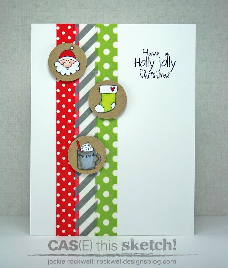 CAS Washi Tape Christmas card.  Love the Santa!