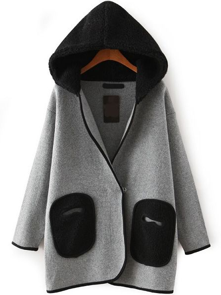 Hooded Patch Pockets Loose Coat 31.76
