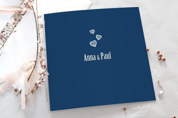 faire-part mariage coeurs bleu marine  by Tomoë pour fairepart.fr #fairepart #mariage #wedding