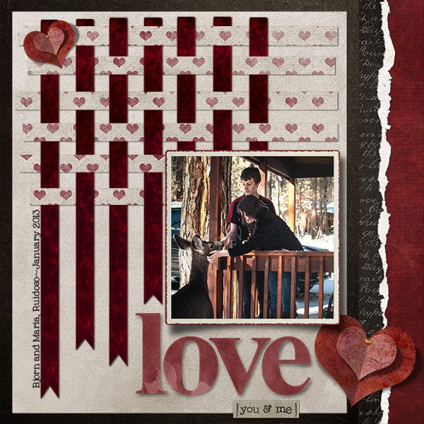 Layout Of The Day  I Doe Love You   Digital Scrapbooking at Digital Scrapbook Place  Interesting ribbon weaving in the background