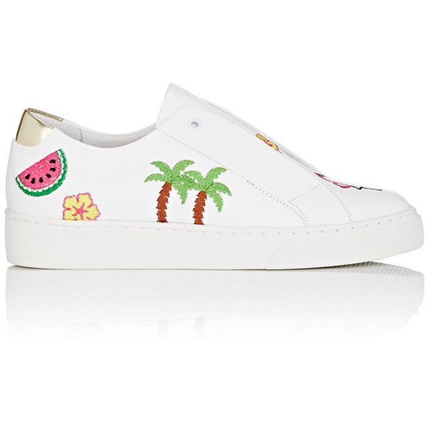 Here/Now Women's Kamea Embroidered Leather Sneakers (2.110.725 IDR) ❤ liked on Polyvore featuring shoes, sneakers, white, white slip on sneakers, slip on shoes, leather slip-on shoes, white trainers and colorful sneakers