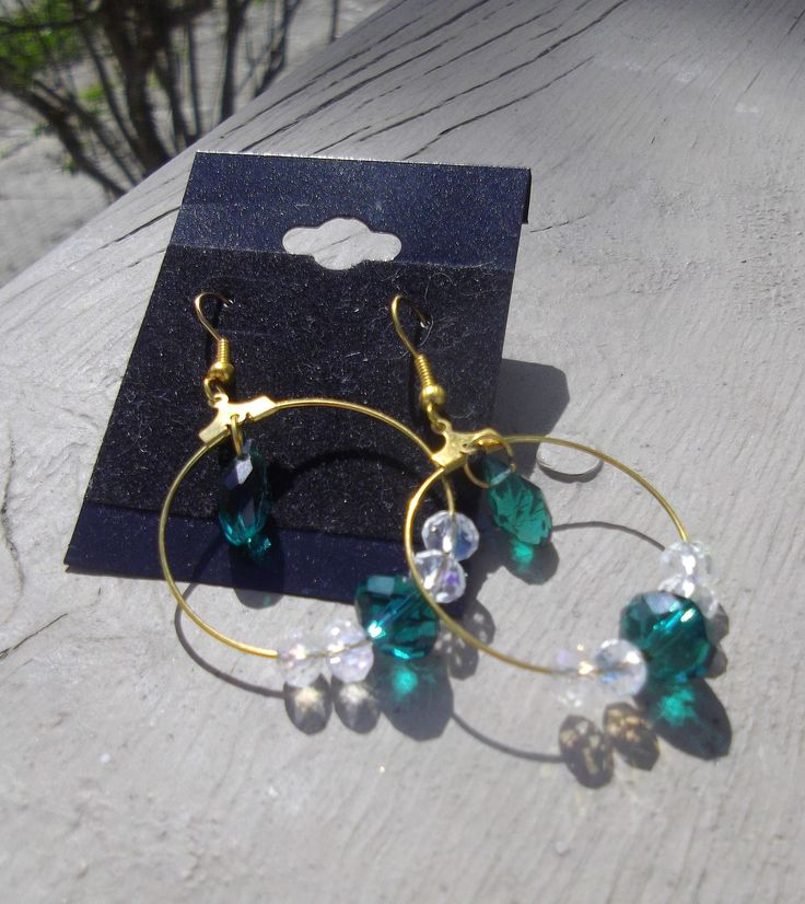 """1.5"""" Gold Tone Hoops Emerald Green Swarovski with Clear AB Crystals"""