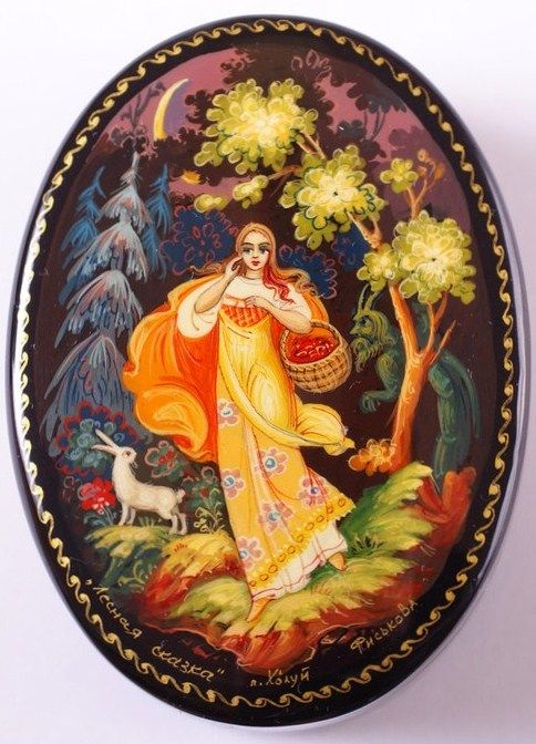 Russian lacquer miniature from the village of Kholuy. It's an illustration to a fairy tale. A girl with a basket of berries has lost in a forest, the local spirit scares her.