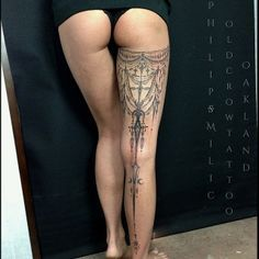 #intricate #tattoo by Philip Milic at Old Crow Tattoo - Very cool take on a leg tattoo