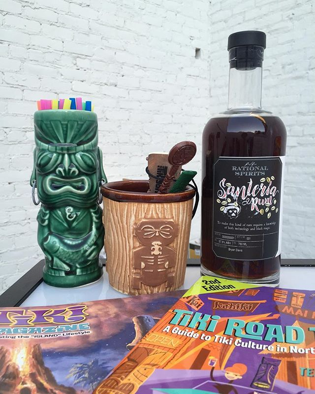 Spotted: @rational_spirits's new Santeria Rum at last week's @contentmag Tiki and Typography event. A dunder pit (pits that host a specific type of bacteria) Jamaican rum that uses a brilliant new rapid aging technology from @lostspiritsdistillery. IT'S (black) MAGIC! At 57.5%, it definitely packs a punch. #tiki #tikiasfuck #rum #boozybooze #usbgsv @packsof3 @rumandrye