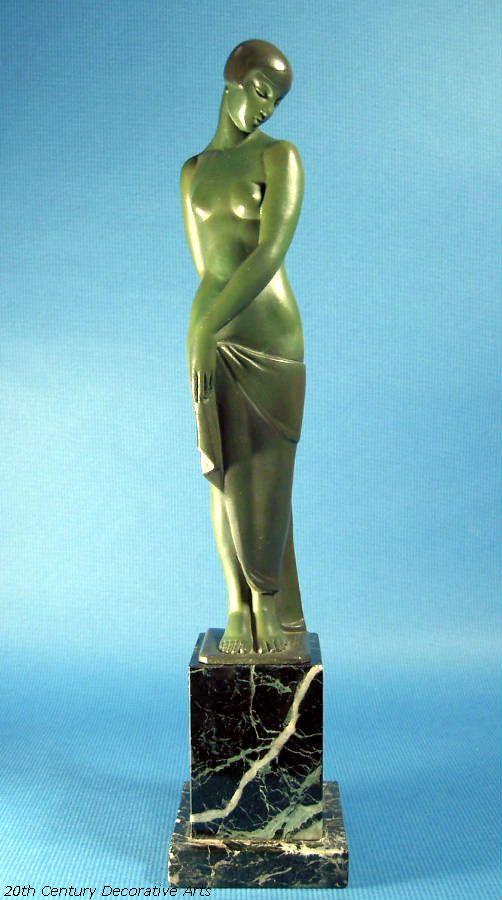 """Ondine"" an Art Deco metal sculpture by Fayral (Pierre Le Faguays) for Max Le Verrier, Paris circa 1930s."